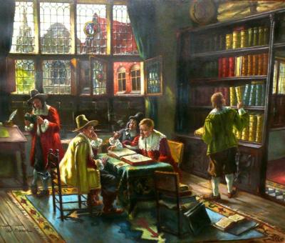 Adolf Nauer (1893-1966): Edel-Leute Männer in der Bibliothek