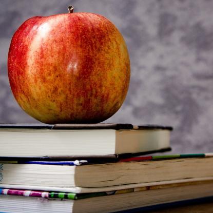 Apfel und Bücher (Foto: Michael Jarmoluk | Pixabay)